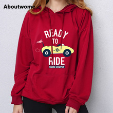 Fashion Ready To Ride Cartoon Car hoodie women sweatshirts Racing Champion Letter hooded Long Sleeve pullover Casual hoodie coat(China)