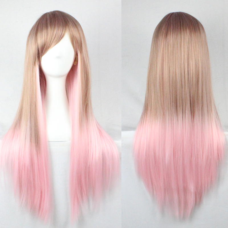 Hot 1PC Free shipping70Cm Straight wig Harajuku Maid Pink mixed blonde Gradient Cosplay Wig Synthetic Hair Wigs<br><br>Aliexpress