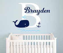 Personalized baby Name Wall STICKER,Nursery Whale Anchor art,Nautical kids Room Decor accessories