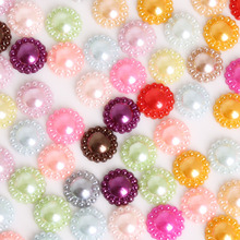 12mm Hot Sale 50Pcs Multi Colors Imitation Pearls Half Round Flatback Flower Beads For DIY Jewelry Craft Scrapbook Decoration(China)