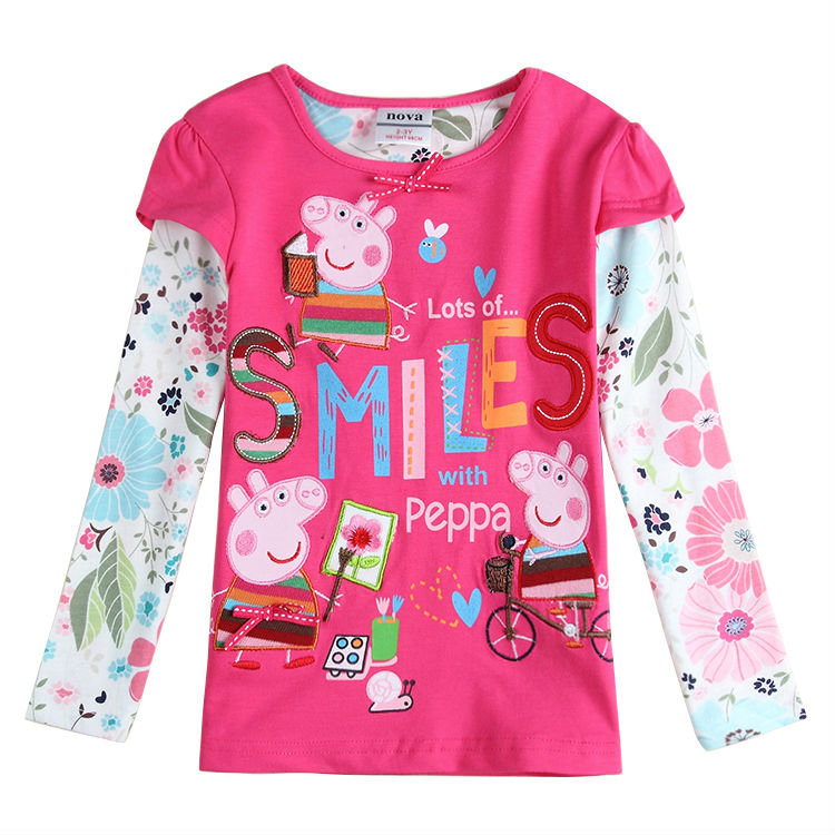 fashion Brand girls fashion t shirts children clothing cartoon embroidery long sleeve t-shirts for girls autumn kid tops enfant(China (Mainland))