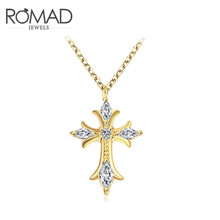 2017 Romad Charms Cross Crystal Long Necklace Gold Color Wedding Zircon Pendant Chains Jewelry Romantic Mother's Gifts