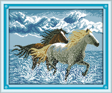 Joy sunday animal style Running horses cross stitch embroidery sets 14ct and 11ct stamped fabric for easy needlework(China)