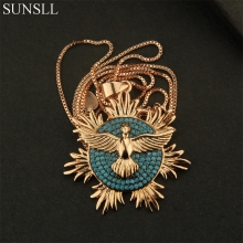 SUNSLL Golden Color Copper Blue Stone Eagle Shape Pendant Necklaces Women's Fashion Jewelry Colar Feminina(China)