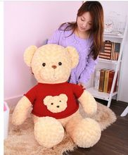 "stuffed plush toy large 80cm beige teddy bear plush toy red sweater bear head "" bear doll throw pillow christmas gift b0587(China)"