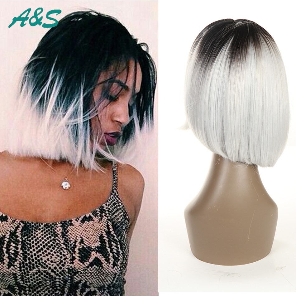 Fashion ombre bob wig two tone synthetic lace front wig bob style heat resistant ombre wig color #1b/white 8 inch short length<br><br>Aliexpress