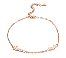 Love you heart Anklet  Rose Gold Titanium Steel Chain Women Barefoot Sandals Anklet, 2014 Fashion Foot Chain Jewelry,N001