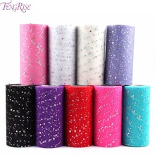 FENGRISE Glitter Sequin Tulle Roll 6 Inch 25 Yards Tutu Fabric Wedding Decoration Sewing Mesh DIY Organza Tutu Skirt Accessories