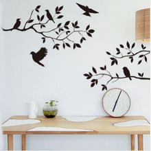 Worldwide Black Bird Tree Branch Wall stickers Art Removable Home Decor New(China)