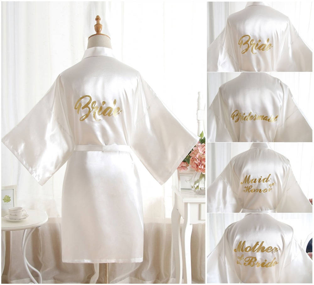 Sexy Large Size Sexy Satin Night Robe Bathrobe Perfect Wedding Bride Bridesmaid Robes Dressing Gown For Women Golden Word robes(China)