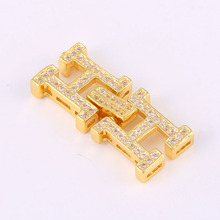 Copper Jewelry Shining Zircon H Letter Charms For Jewelry Making Diy Micro Pave Craft CZ Pendants For Bracelets Necklaces Bijoux(China)