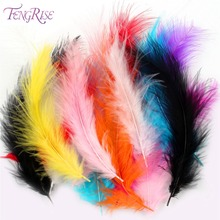 FENGRISE 200pcs Natural Turkey Feathers Colorful Fringe Rooster Feather Tail Clothing White Plume Pena DIY Sewing Accessories(China)