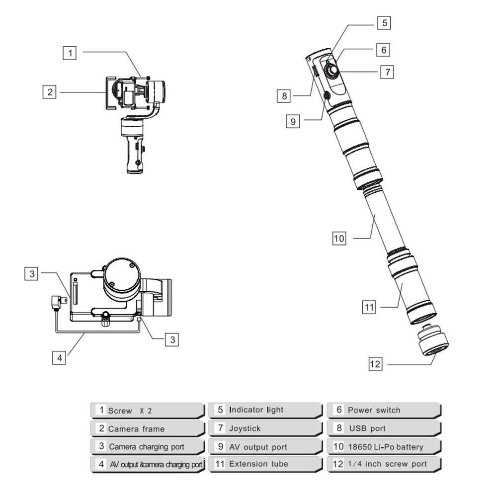 Zhiyun Evolution 3-Axis Handheld Gimbal Stabilizer for GoPro Hero 6 5 4 3 XiaoMi Yi SJ4000 SJ5000 Sport Cameras,CNC Aluminum12