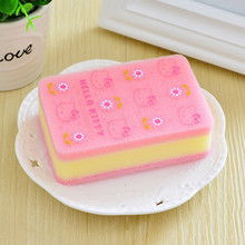 5pcs/lot Hello kitty Cleaning Sponge Magic Eraser Pink yellow Melamine Cleaner for Dish Kitchen Washing Assistant DF