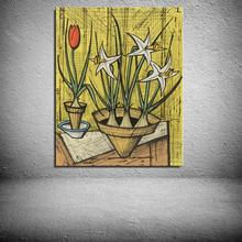 TWO BOUQUETS OF TULIPS AND DAFFODILS Flower Modern Bernard Buffet Oil Painting Spray Frameless Unframed Canvas not handmade(China)