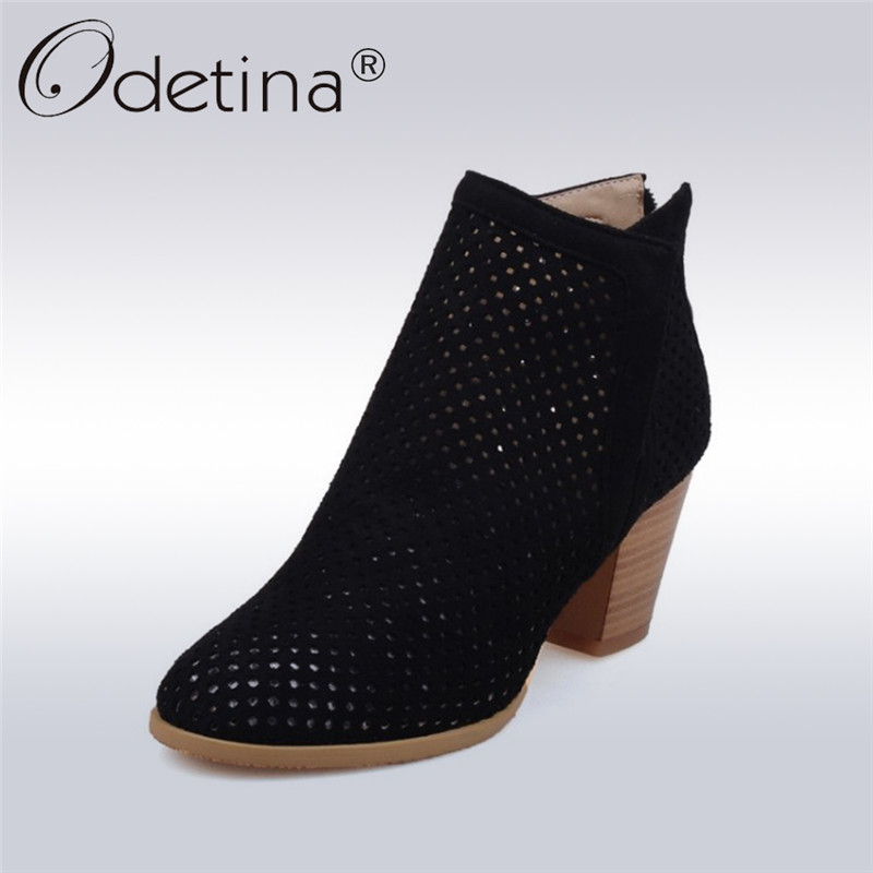 Odetina 2018 New Fashion Genuine Leather Hollow Out Ankle Boots High Heels Women Chunky Heel Booties Back Zipper Big Size 32-43<br>