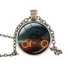 Tron Legacy necklace Light Cycles pendant movie Jewelry best friend jewelry Glass Round Dome jewellery Virtual Racing necklace