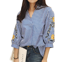 Cotton Blouses New Summer Women Shirt Fashion Casual Three Quarter Sleeved Shirt Elegant Loose Striped Floral Embroidery Tops