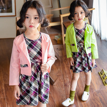 Children's Garment Girl Suit Spring And Autumn Season Children Korean Vest Baby Lattice Self-cultivation Two Pieces(China)