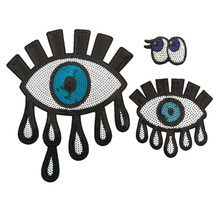 3Pcs No Repeat Large Eyes Embroidery Patch Need Iron On Stick Clothes Baby Clothes Accessory Diy(China)