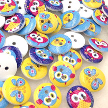 50Pcs15mm White Print Owl Wood Buttons Clothing Sewing Tool Accessories WB309