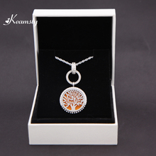 Keamsty Best Selling 30mm Round Crystal Life Tree Aromatherapy Essential Oil Diffuser Perfume Locket Necklace With Pad