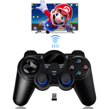 Black wireless gamepad with USB & Bluetooth interface and internal battery computer mobile phone joystick game controller