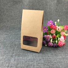 30pcs/lot  Natural Kraft Paper Boxes with Clear transparent window for Party Wedding Favor Candy Packaging Gift Boxes