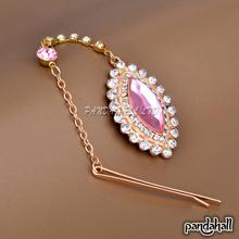 Elegant Women's Hair Accessories, Horse Eye Alloy Rhinestone Hair Bobby Pins, with Resin Beads, HotPink, 210mm
