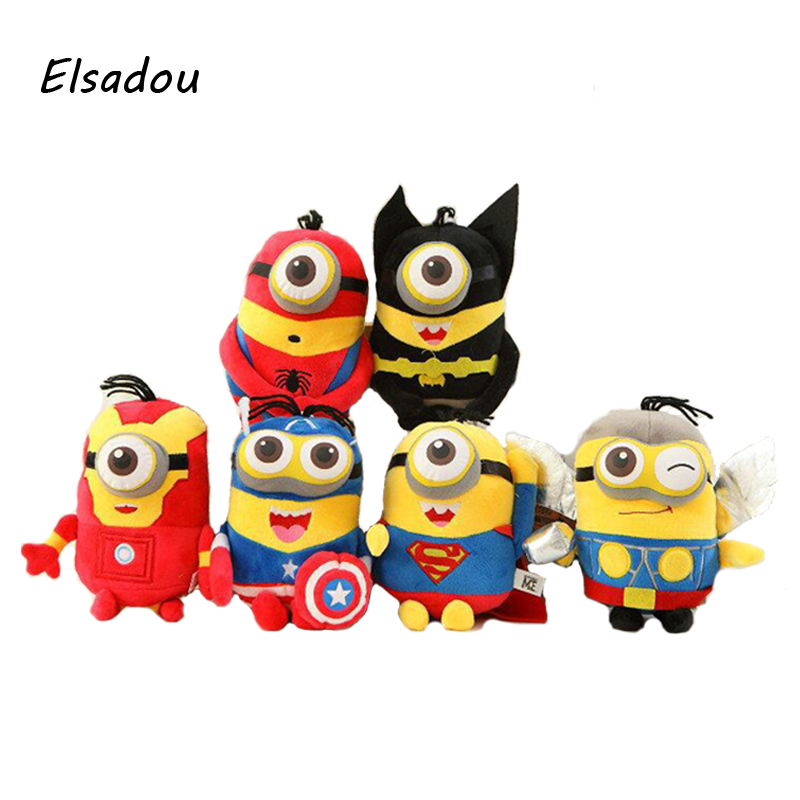 Elsadou  6pcs/lot Marvel Super Hero Yellow Baby Cosplay Spiderman Batman Iron Man Captain America Superman Thor Plush Toy Doll<br>