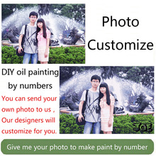 Cool ! Photo custom make your own DIY digital oil painting by numbers picture drawing canvas portrait wedding family photos