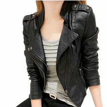 2016 Spring Autumn Leather Jackets Women Rivet Zipper Motorcycle Faux Leather Coat Female Paragraph Lapel PU Jacket,MM0033