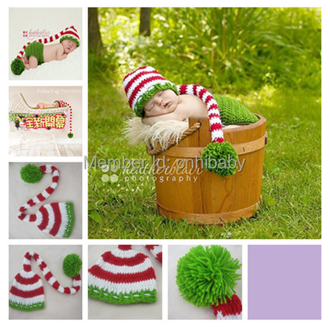 Free shipping Hand crochet baby hats wholesale order Christmas long tail cap processing and manufacturing(China)