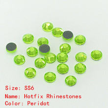 cheap glass crystal rhinestones ss6 flat back hot fix 1440pcs pack peridot color for garments, bags, shoes, phone cases