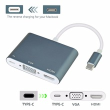USB 3.1 Type C (Thunderbolt 3 Compatible) to VGA 1080P, HDMI UHD 4Kx2K@30Hz & USB-C PD Charging Port Converter Adapter Cable(China)