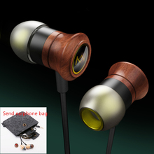 Natural wood Earphone 3.5mm In-Ear Wired Ear Phones With Microphone Stereo Bass Earbuds For xiaomi redmi huawei Phone MP3 MP4(China)