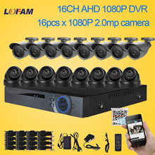LOFAM 16CH 1080P AHD-H DVR Recording KIT 2MP IR-CUT Day Night 16CH AHD Camera Video Surveillance Complete Home Security System