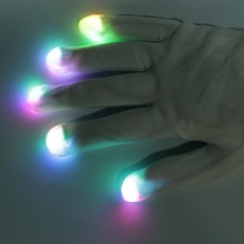 2017 Fashion White Nylon 7 Mode LED Gloves Rave Light Finger Lighting Flashing Glow Mittens Party Supplies Halloween Decoration(China)