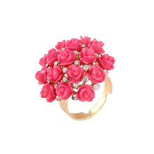 1 Piece Women's Rose Flowers Golden Crystal Adjustable Ring bague homme alianca de casamento Jewerly Party