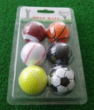 6 pcs per packaging funny sport theme basket ball / table ball / rugby / football / baseball / tennis golf ball(China)