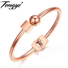 TENGYI Cube & Ball Bracelets Bangles For Women Fashion Simple Design Rose Gold Color Open Cuff Woman's Jewelry Bangle TY829