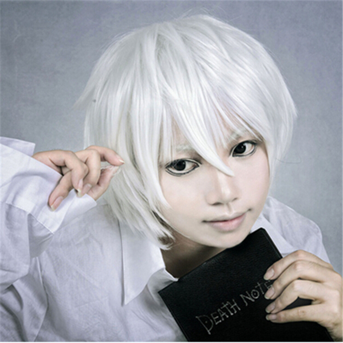 2014 New Holiday Sale Japan Anime Death Note Near Silver Gray Cosplay Wig Heat Resistance Synthetic Hair Party Halloween Wigs<br><br>Aliexpress