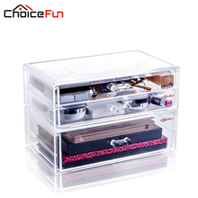 CHOICEFUN DIY 3 Layer Drawer Transparent Plastic Desktop Storage Box Jewelry Organizer Cabinets For Makeup Office SF-2179-12(China)