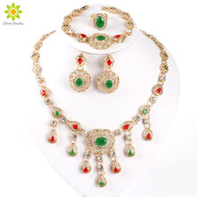 Africa Bead Jewelry Set Party Suite Crystal Wedding Dress Accessories Pendant Necklace Earrings Ring Bracelet Set