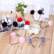 1 pcs Hot Sale Fashion Sweet Pom Fur Ball Furry Ears Fluffy Rabbit Fur Ball Women Headband Hair band Head Accessories(China)