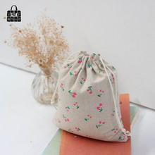 Cute cherry print 100% cotton linen dust cloth bag Clothes socks/underwear shoes receive bag home Sundry kids toy storage bags