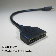 New Arrival HDMI splitter cable 1 Male To Dual HDMI 2 Female Y Splitter Adapter in HDMI HD LED LCD TV 30cm