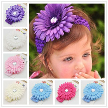 1 pieces gerbera daisy Acrylic rhinestone Flower kids  crochet  headband girl kids hair accessories