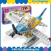 194pcs Friends Stephanie Heartlake Flying Club Water Plane 10157 Model Building Blocks Bricks Toys Set box Compatible With Lego(China)