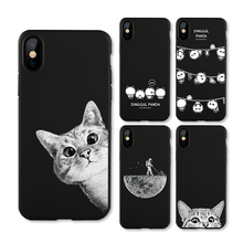 IIOZO Frosted Matte Case For iphone X 10 Cats Space Moon Cat Man Pandas Animal Phone Protector Cover Shell for iphone X Cases(China)